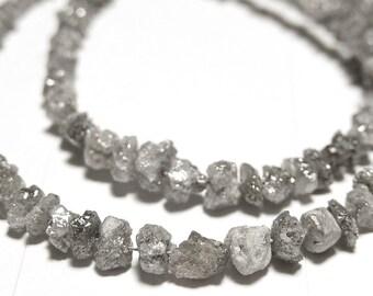 DIAMOND Gemstones, Silver  Raw, Rough, Diamond Nuggets. Precious Gemstone Beads. 2.5mm to 4mm. Your Choice