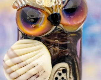 Wyatt... lampwork owl bead, 29mm, 1/16th mandrel