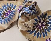 Custom Request Hand Painted Silk Scarf - Handpainted Scarves Navy Blue Brown Purple Tan Cream White Floral Flowers