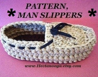 crochet PATTERN, slippers - Men's crochet slippers, moccasins,  #173 - MAN SLIPPERS, Extra small, 10 inch sole, to Extra large,12 inch sole.