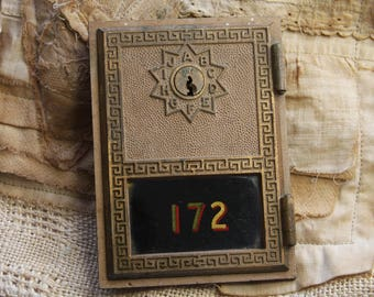 Vintage POST OFFICE Box Door- Metal with Graphic Numbers 172 Industrial Vibe Bronze Colored with Glass Front- Postal Mail Box- F14