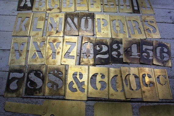 vintage brass stencils alphabet number set used metal stencil interlocking reese letter font