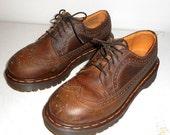 SALE Dr Martens Wingtip Loafers Shoes Doc Marten Mens Size 6 Lace Up Brown Leather