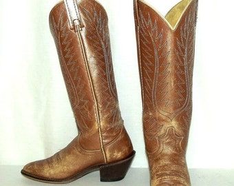 Womens 5.5 C Cowboy Boots Distressed Tan Gold Acme Boho Gypsy Cowgirl Shoes Wide
