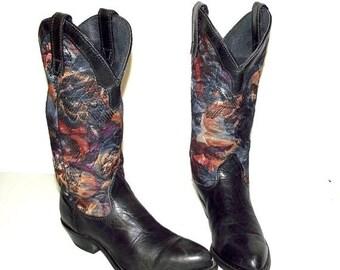 Blue Tapestry western fashion cowgirl boots -  Capezio brand