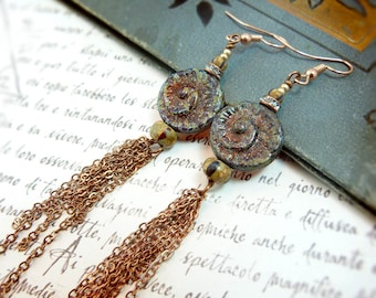 Ammonite rustic long tassel earrings - copper chain tassel beach earrings - tribal boho chic