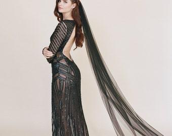 Black Bridal Veil, Wedding Veil, English Net, Gothic Veil, Simple Soft Sheer Fabric Classic Veil, Little Something 0801 EN