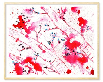 Cherry Blossoms, Birch Trees, Abstract Watercolor, Asian Inspired Art, Giclee Print, Pink Art, Art Prints, Abstract Landscape, 8.5x11, 11x14