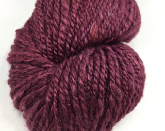 "Handspun Yarn Worsted Polwarth Silk ""Merlot"" 160 yds."