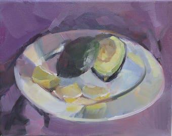 Lemons and Avocado.....an original oil painting by South Carolina artist Linda Hunt...WET...WET...WET