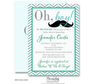 Little Man Baby Shower Invite | Mustache Baby Shower Invitation | Mustache Baby Shower | Baby Shower | Little Man {BS18}