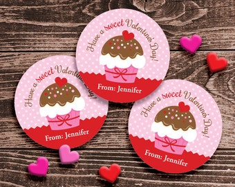 Personalized Valentine Gift Tags or Stickers – 2, 2.5 or 3 Inch Circle – DIY Printable – Cupcake Pink  (Digital File)
