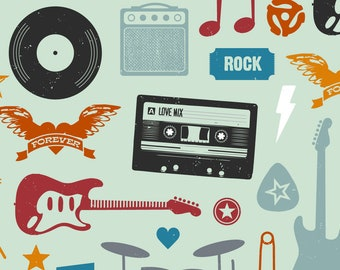 Rock Music Fabric - I Love Rock Roll By Jenimp- Punk Mix Tape Guitar Pick Drums Kids Band Novelty Cotton Fabric By The Yard With Spoonflower