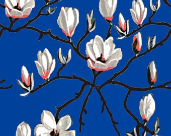 Magnolia Fabric - Magnolia Garden By Magentarosedesigns - Magnolia Floral on Royal Blue Cotton Fabric By The Yard With Spoonflower