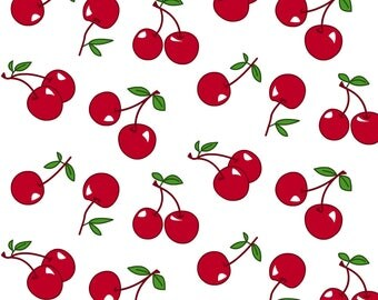 Retro Cherry Fabric - Cherries Red X White By Mezzo - Retro Cherry Kitchen Decor Cotton Fabric By The Yard With Spoonflower