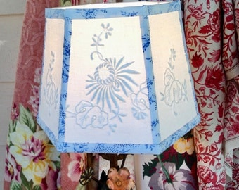 "Classic White Lamp Shade Embroidery Lampshade, 6""top x 8"" bottom x 6""high clip top, Pretty Bedroom Shades, Vintage Lighting - Handmade in VT"