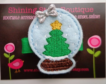 Girls Hair Accessories - Felt Clips - Light Blue Snow Globe With A Green Christmas Tree And White Snowflakes Embroidered Felt Hair Clippie