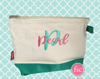 Mint bridesmaid bags , bridesmaid make-up bags, monogrammed bag, wedding bag , bridesmaid gifts , personalized bridesmaid gifts