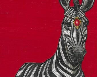 My Lady Zebra- Small Print 4.5x4.5