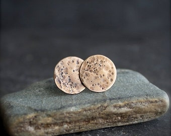 ON SALE Brass Moon Earrings - Sterling Silver, Round Disk, Post Earrings, 13mm Circle, Textured Metalwork Jewelry