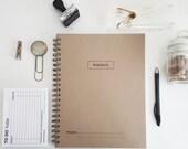 PERSONALIZED Workbook Spiral Notebook-8.5 x 11 Custom Journal-100 Pages-Journal Handmade Recycled Notebook Kraft