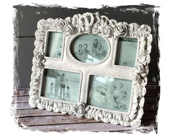 Shabby White Roses Multi Photos Picture Frame, Cottage Chic