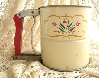 Vintage Flour Sifter | Antique Androck Hand-i-Sift | Red Wooden Handle | 3 Screen Sifter | Retro Kitchen | Farmhouse Decor