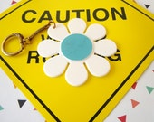 Vintage 1960's White and Turquoise Blue Flower Keychain White Daisy Purse Accessory