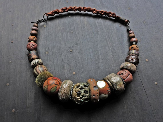 "Chunky brown beaded choker - earthy artisan and antique beads - ""Geolatry"""