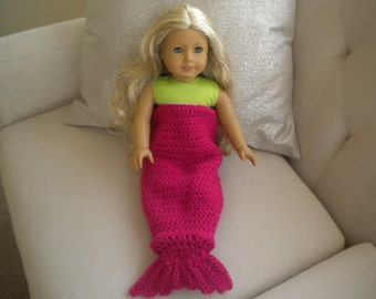 Rose Pink Crochet Mermaid Tail Blanket For American Girl Doll Or Most 18 inch Doll