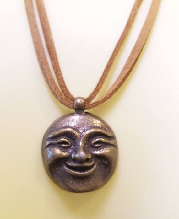 moon face necklace pendant suede leather cord antique gold charm fantasy celestial jewelry