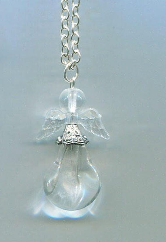 glass guardian angel necklace angel pendant jewelry silver chain fantasy religious bead pendant religious  jewelry handmade necklaces