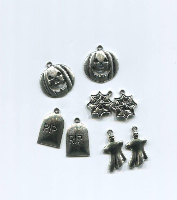 halloween charms lot halloween pendants jacko lantern pumpkin RIP grave charms spider charms metal silver charms goth 8pc halloween jewelry