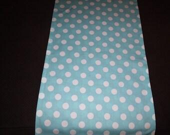 Blue and White Polka Dot Table Runner