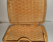 Blow Out Sale Vintage Wicker Picnic Basket - Wicker Case - Woven Wicker Basket - Picnic Basket - Wicker Sewing Basket - Suitcase Style Picni
