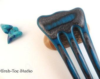 Hair fork Spectraply Wood Threnody, Grahtoe Studio, Hairfork, Hair Stick,Wood Hairforks, Wooden Hairsticks, gift for her, rare wood, 3 prong