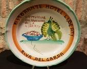 RESERVED LISTING For FELICYE---Vintage Italian Ceramic Solimene Vietri 1970s Buon Ricordo Restaurant Plate - Riva del Garda