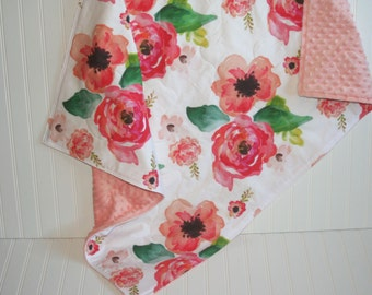 baby girl quilt- baby quilt- floral baby quilt -floral baby blanket-minky baby quilt- baby bedding - crib bedding- girl crib bedding