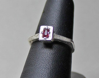 ancient to @ sixteenth century style ruby rectangular ring sterling size 6 1/2