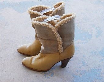 vintage 70s Shearling Boots - 1970s Tan Leather High Heel Boots - Suede Ankle Boots Sz 7 38