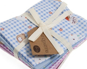 Fat Quarter Bundle, Kid's Bunny and Teddy Cotton Fabrics, 6 Child's Blue and Pink Bunny and Teddy Fat Quarters, 54cm x 45cm