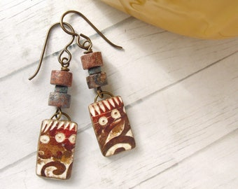Polymer Clay Earrings Jewelry featuring an Abstract Tropical Dots and Swirls Design in Brown and White