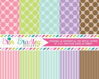 50% OFF SALE Digital Scrapbook Papers Personal and Commercial Use Pastel Polka Dots and Stripes