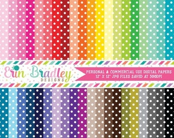 50% OFF SALE Polka Dotted Digital Paper Pack Bundle Set of 40 Digital Scrapbook Papers Commercial Use OK - Instant Download