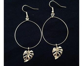 Small Monstera Leaf Hoop Earrings