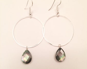 Faceted Mother of Pearl Teardrop Hoop Earrings
