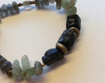 Black tourmaline and Brass Bracelet