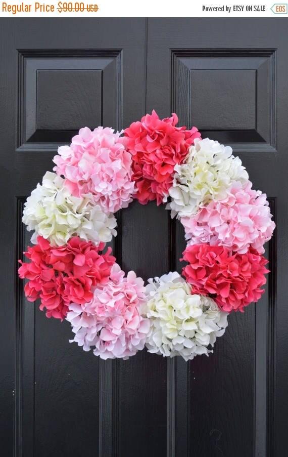 SPRING WREATH SALE Hydrangea Wreath- Spring Wreath- Spring Decor- Wedding Wreath- 19 Inch