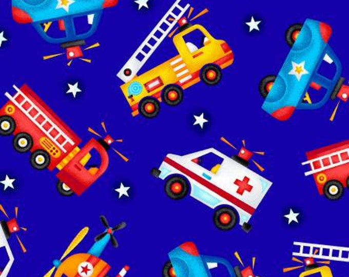Children's Fabric, Be My Hero Navy/Multi Rescue Vehicles Cotton Fabric by Henry Glass