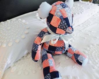 Teddy Bear, Handmade Teddy Bear, OOAK Teddy Bear, Patchwork Teddy Bear,